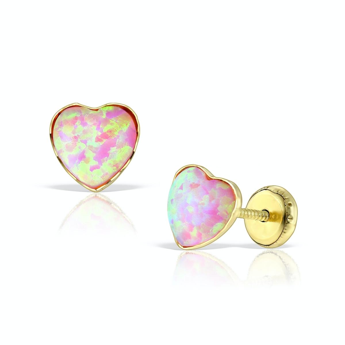 Cercei inimioare din aur galben cu opal