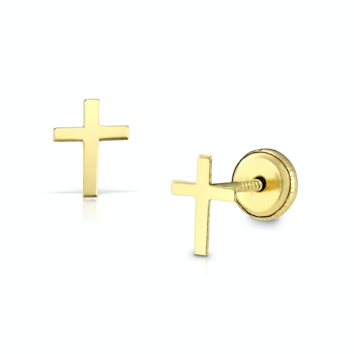 Cercei pentru copii, cruciuliță aur galben
