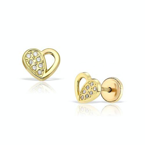 Cercei inimioare din aur galben cu pietricele