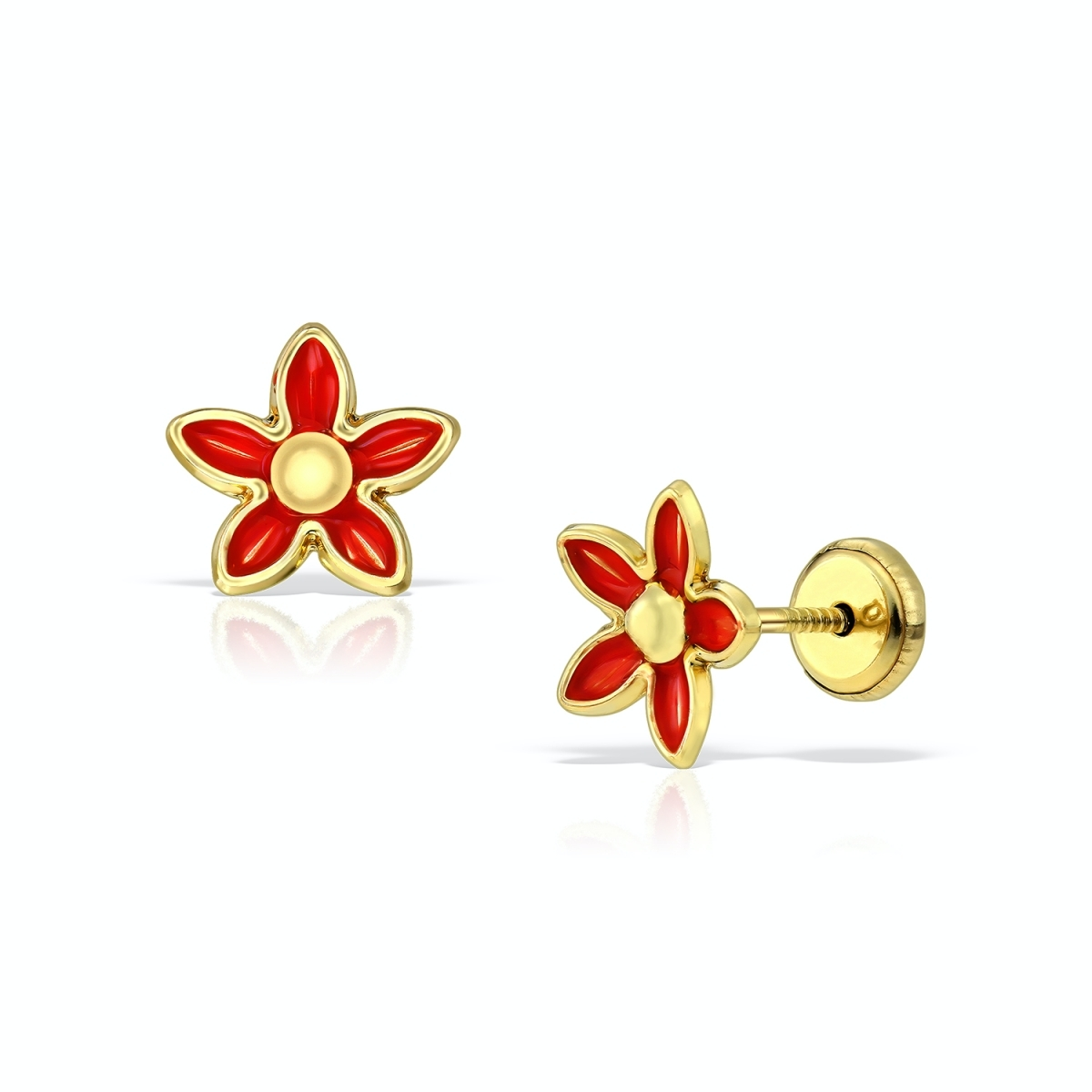 Cercei din aur, floare roșie cu email