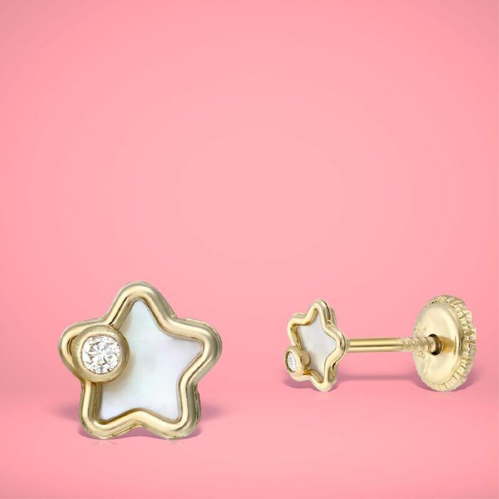 Cercei copii aur sidef si diamante