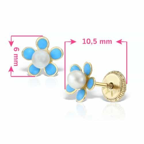 Cercei fetite flori albastre cu perla