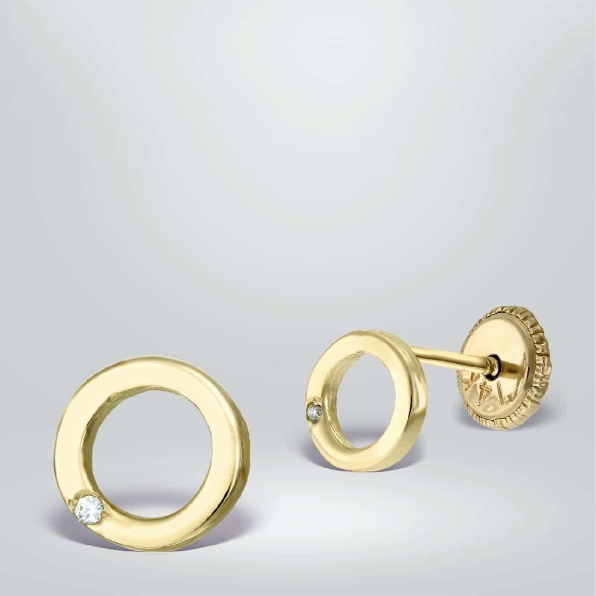 Cercei rotunzi aur galben cu diamante