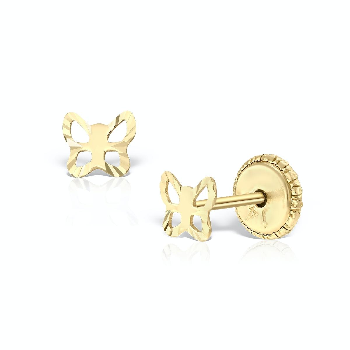 cercei bebe fluturi decupati aur galben