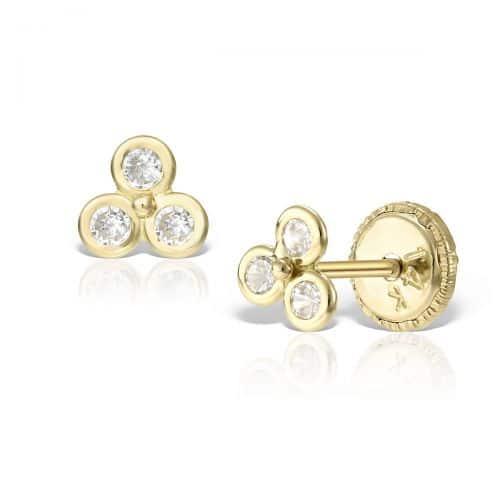 Cercei mici aur galben trei pietricele
