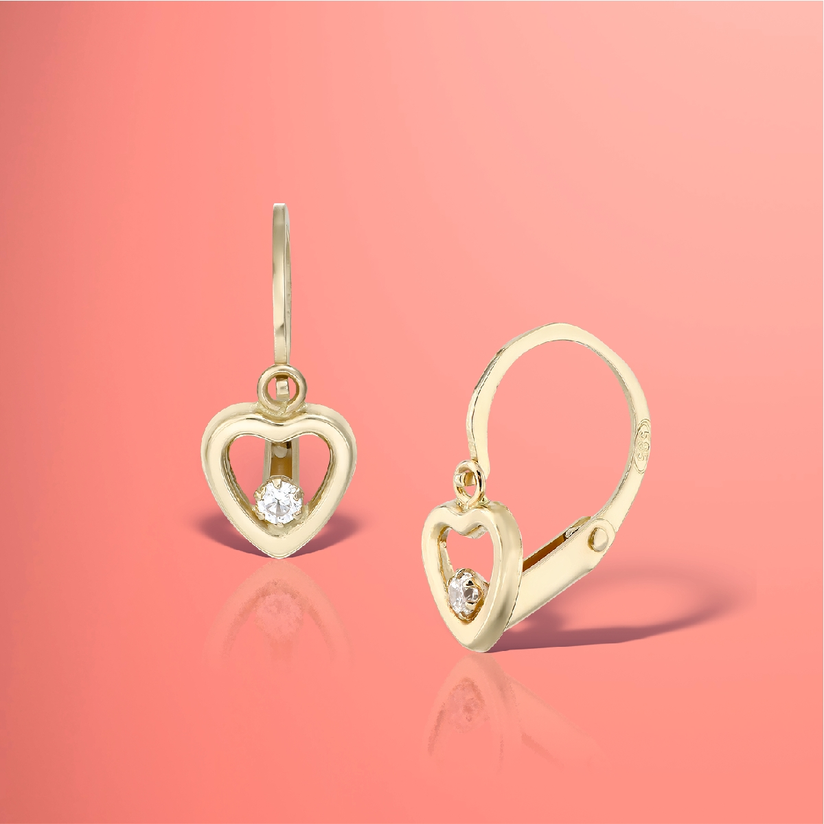Cercei tortite inimioare aur și diamante