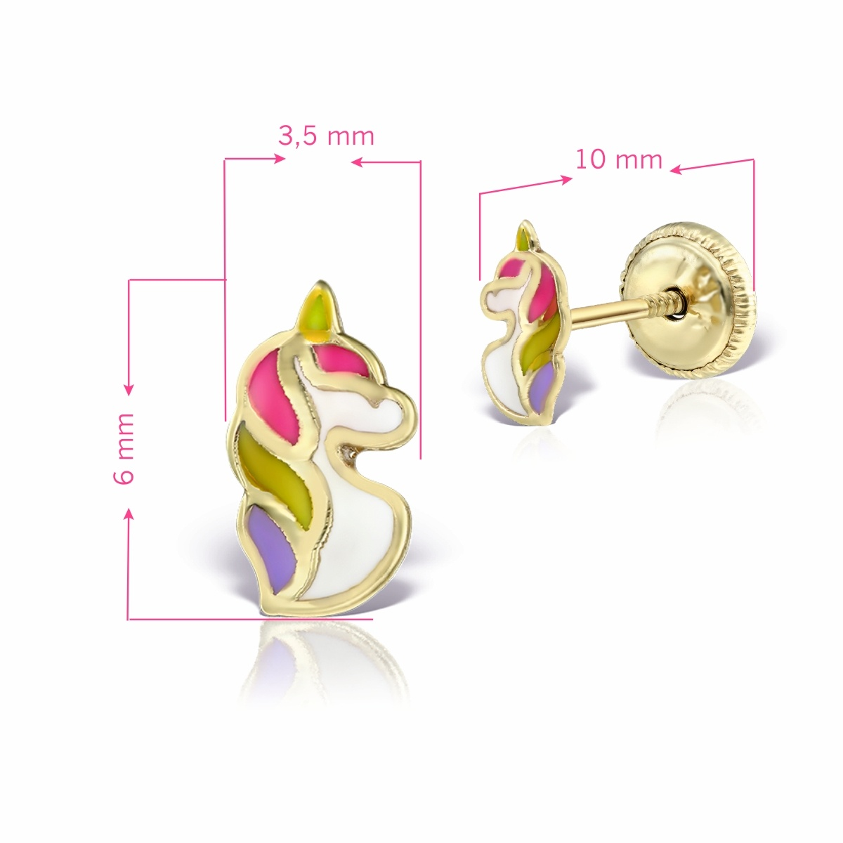 Cercei pentru bebelusi unicorn aur