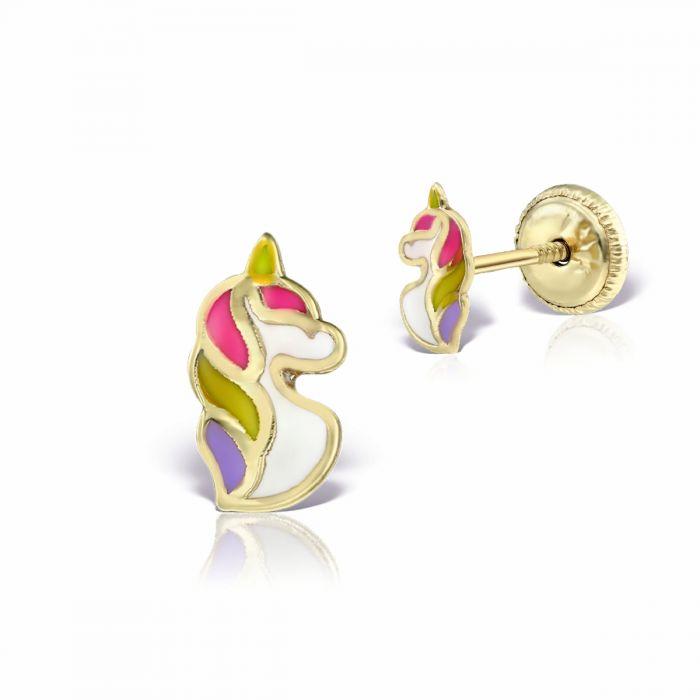 Cercei unicorn din aur pentru bebelusi
