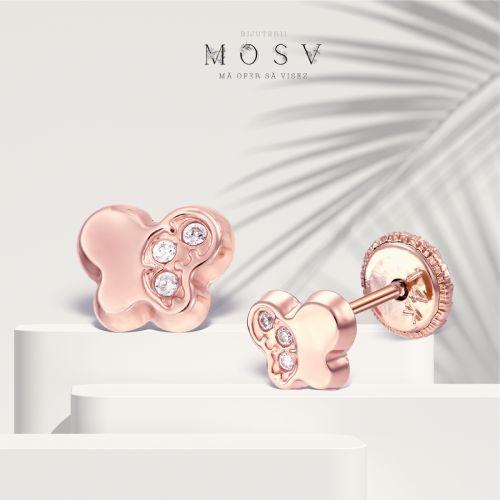 Cercei bebe fluturas aur roz cu pietricele