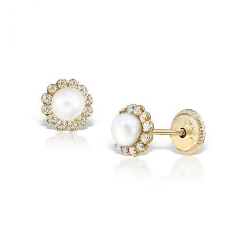Cercei bebe aur galben perle bilute pietre