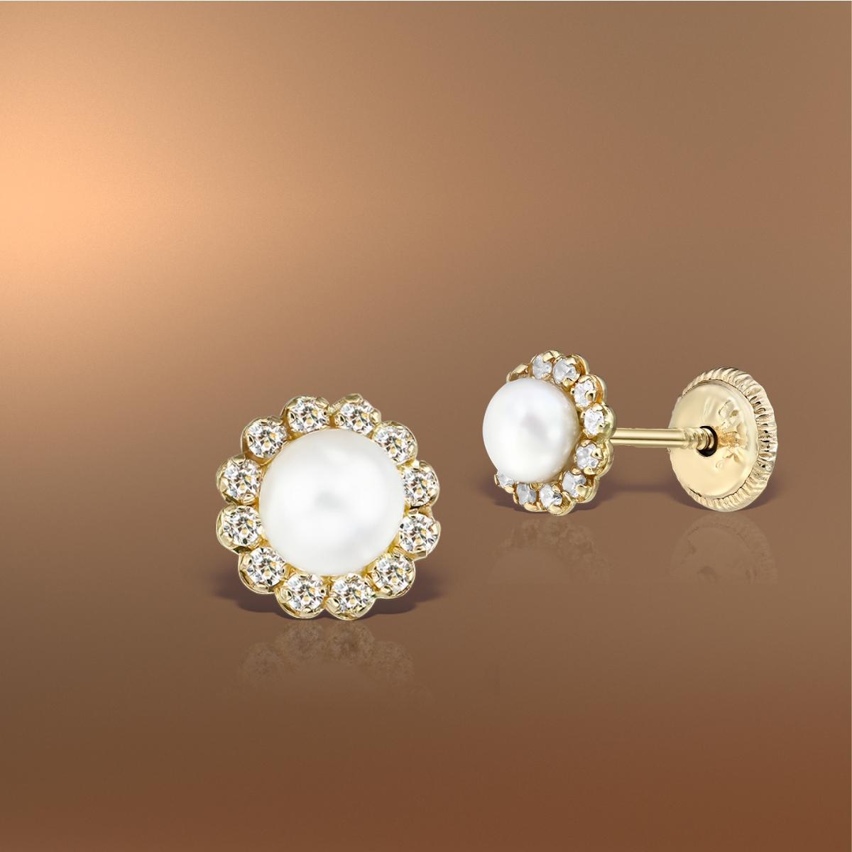 Cercei bebe aur perle și pietricele