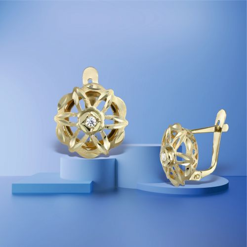 Cercei usori aur cu aspect voluminos