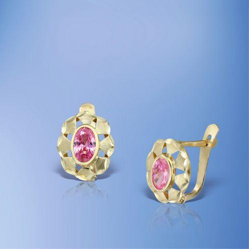 Cercei fete aur pietre roz