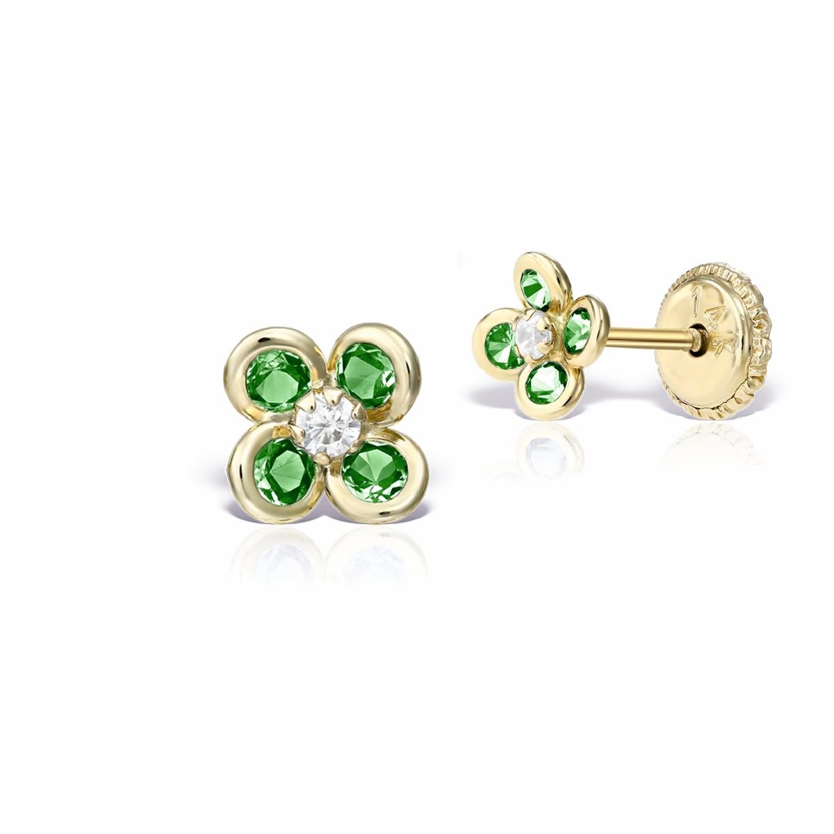 Cercei copii aur pietricele verzi
