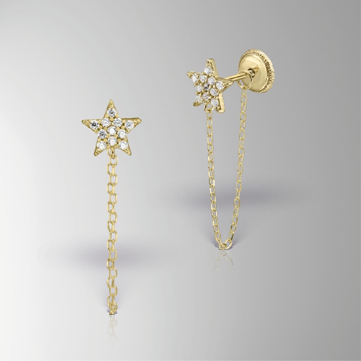 Cercei lănțișor aur 14 KT galben steluță fete