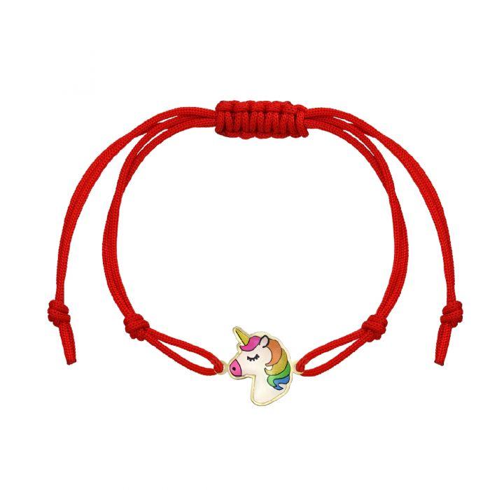 Brățară unicorn aur șnur roșu