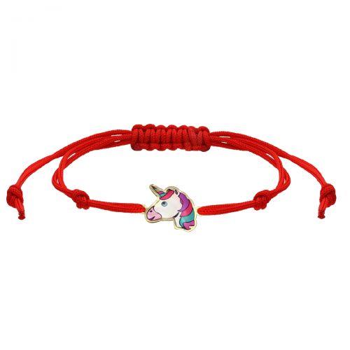 Brățară unicorn aur și șnur roșu