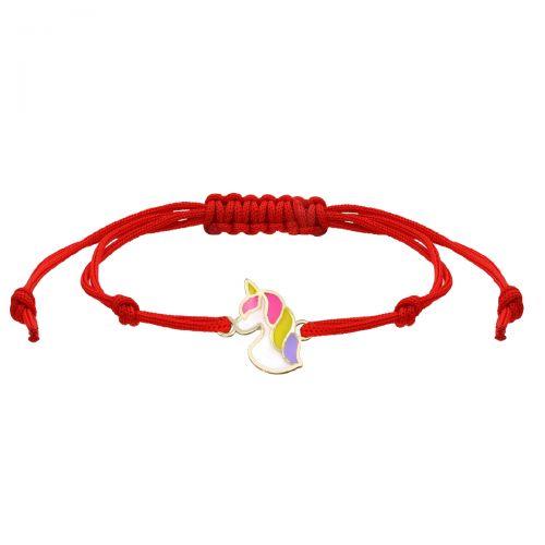 Brățară aur unicorn șnur roșu