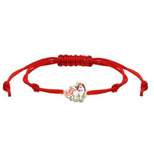 Brățară unicorn aur șnur roșu reglabil