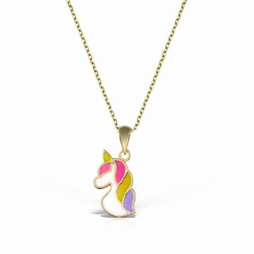 lănțișor și pandantiv unicorn aur pentru copii